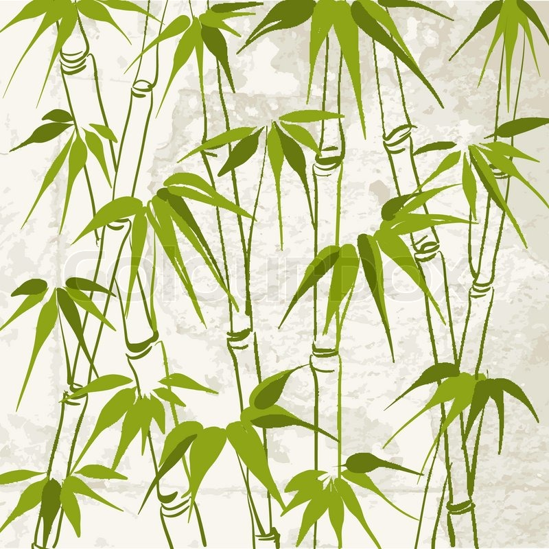 Bamboo With Leaves Pattern Vector Illustration Stock