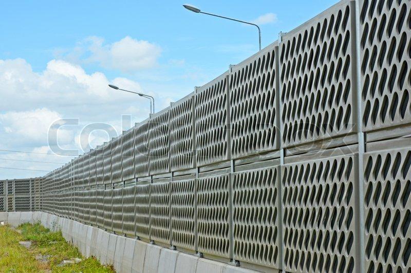 Noise Barrier Wall On A Highway Near Railway Station Thailand Stock Photo Colourbox