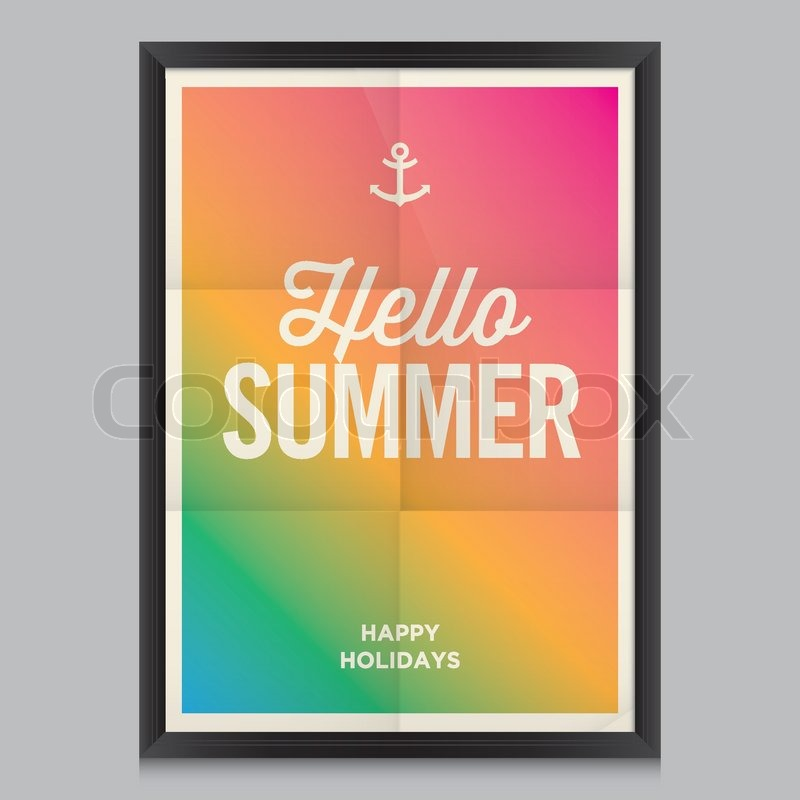 Hello Summer Poster. Beach Summer Background. Effects Poster, Frame, Colors  Background And Colors Text Are Editable. Happy Holidays Card, Happy Vacation  ...