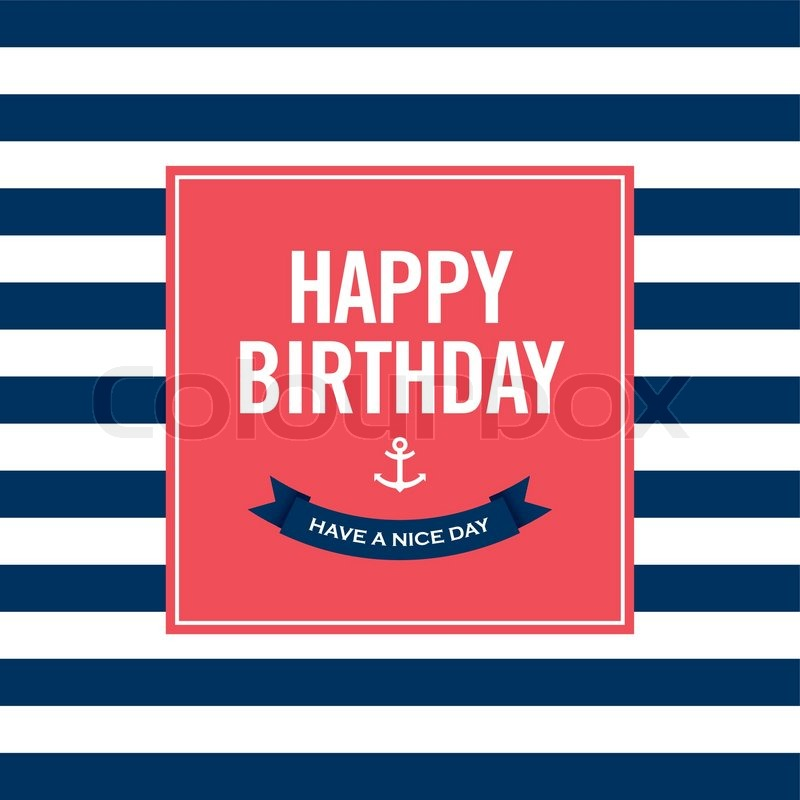 Happy birthday invitation card sailor theme text and color happy birthday invitation card sailor theme text and color editable vector stopboris Choice Image