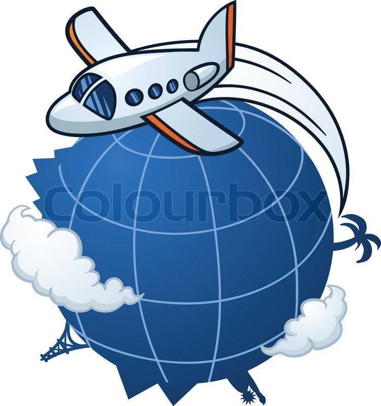 Cartoon Airplane Traveling Around The World