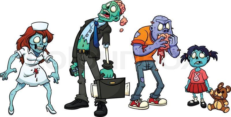 Four cartoon zombies. Vector ... | Stock Vector | Colourbox