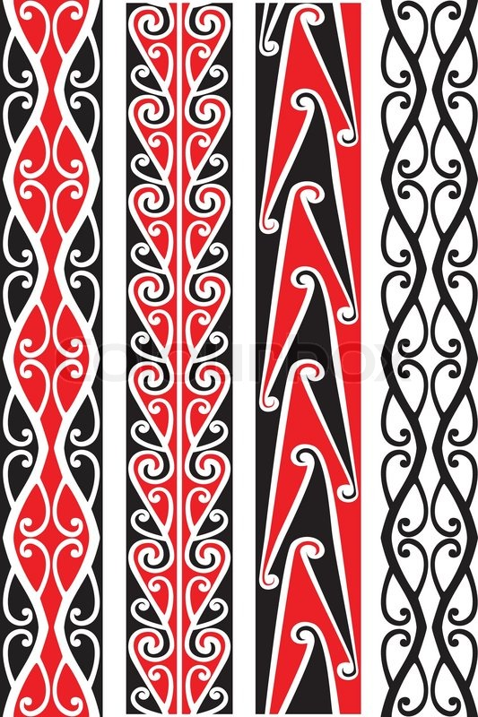 Seamless Maori Patterns Stock Vector Colourbox Beauteous Maori Patterns