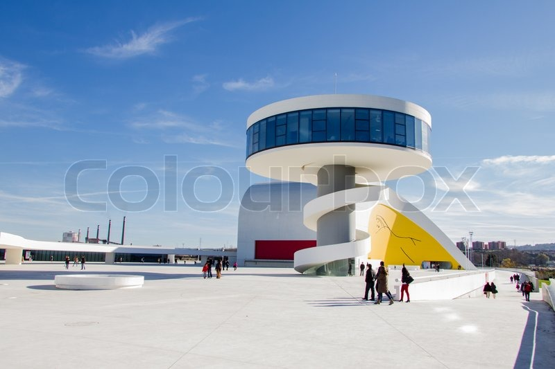 View of Niemeyer Center building, in Aviles, Spain, on December 09, 2012. The cultural center was designed by Brazilian architect Oscar Niemeyer, and was his only work in Spain, stock photo