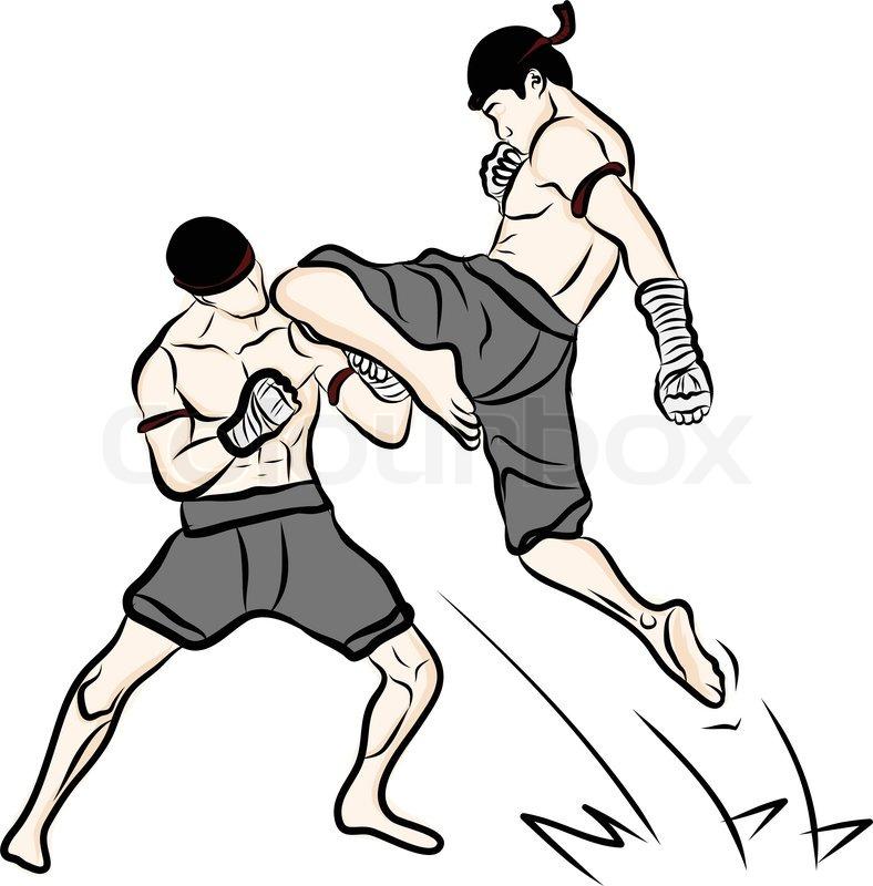 Hand Drawn Thai Martial Arts And Muay Thai Boran Stock Vector