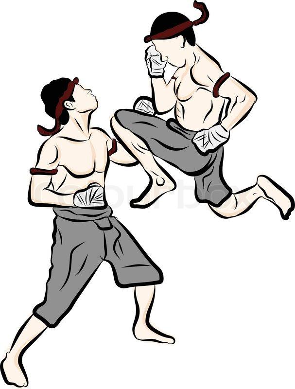 hand drawn thai martial arts and muay thai boran stock vector rh colourbox com  muay thai clipart