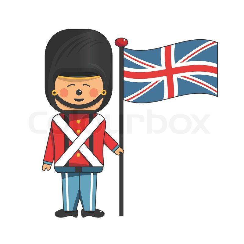 Happy Soldier Red Uniform Holding British Flag