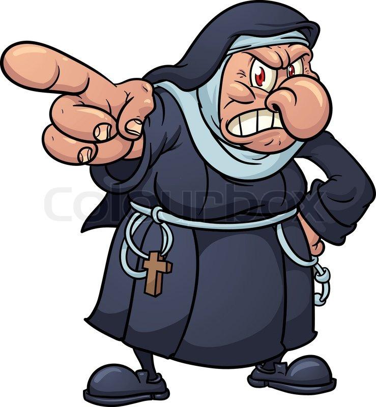 Cartoon Characters 3 Fingers : Angry cartoon nun pointing finger stock vector colourbox