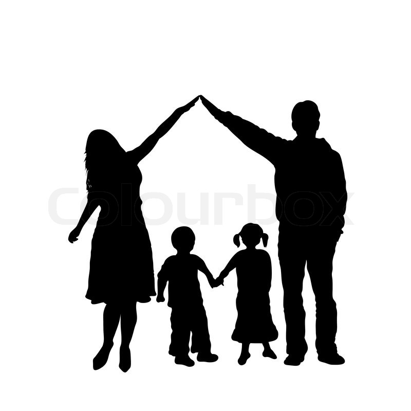 caring family silhouette isolated on white stock vector children praying clipart for coloring children's praying hands clipart