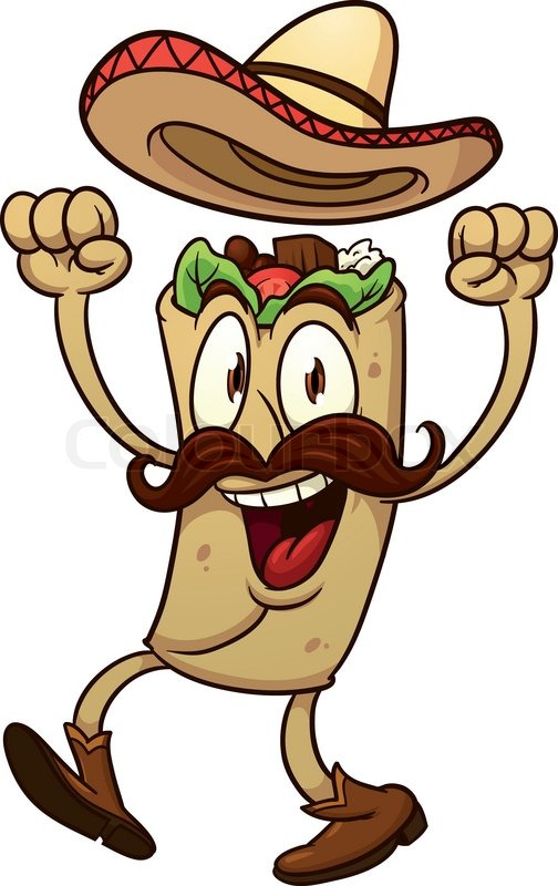 Cartoon Mexican Taco Vector Illustration With Simple
