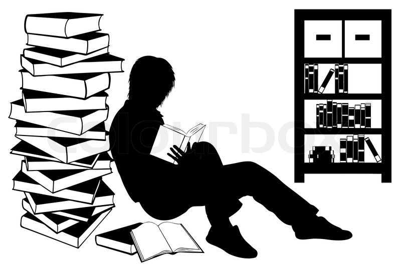 Silhouette of a girl reading a book isolated on white ...