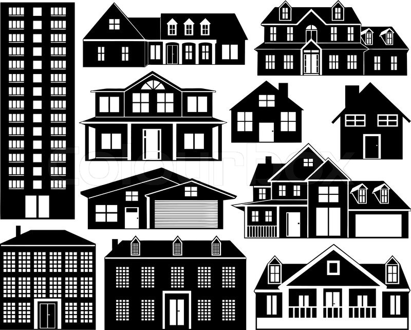 House Silhouettes Set Isolated On White Stock Vector