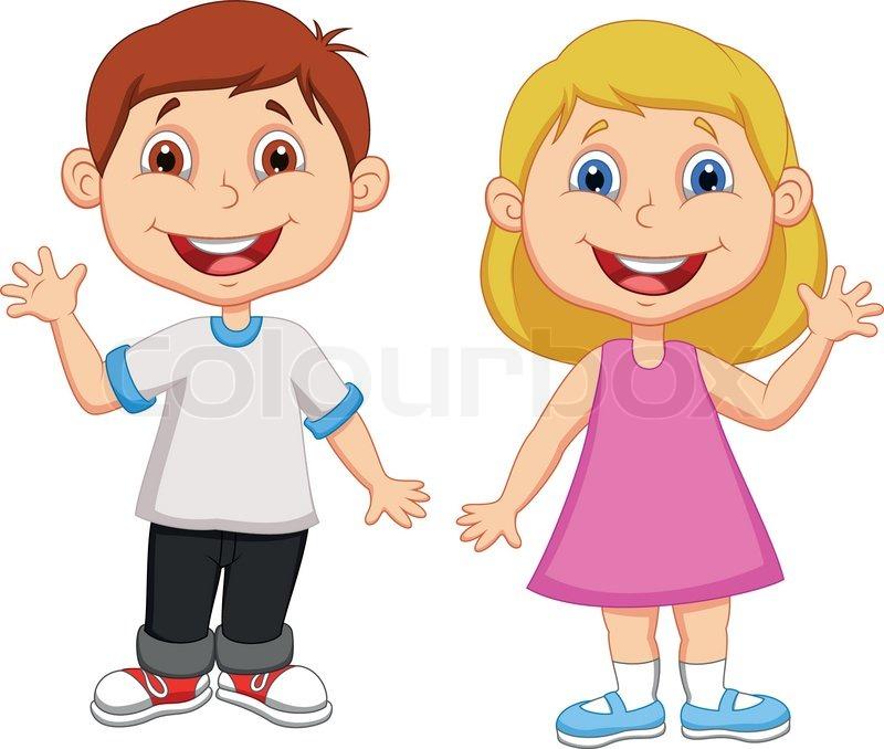 vector illustration of cartoon boy and girl waving hand stock vector colourbox