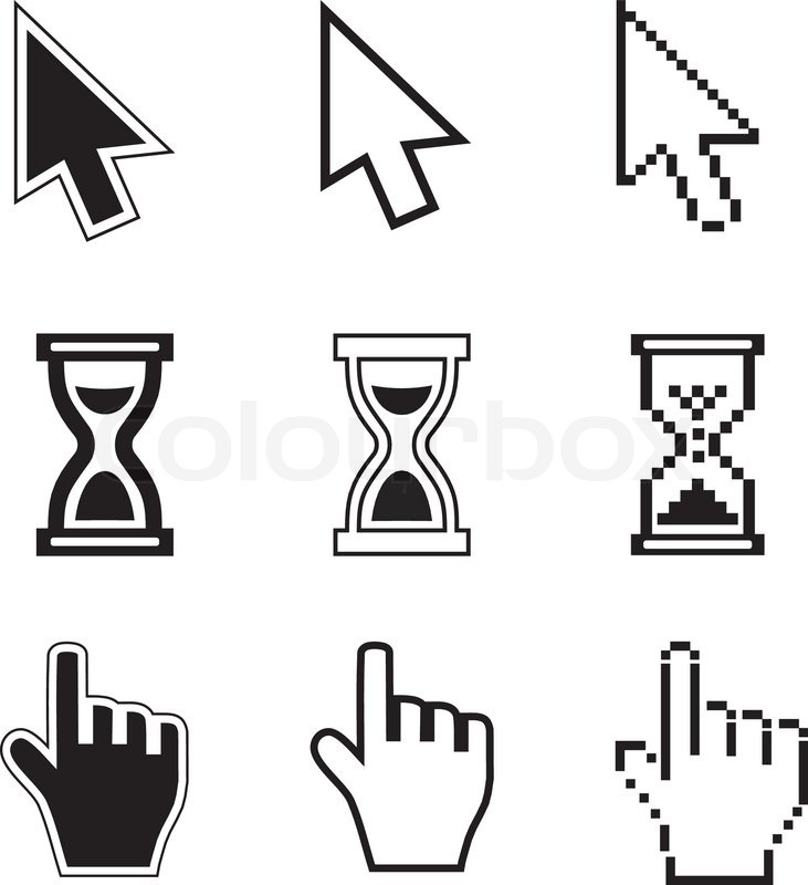 Sanduhr icon  Pixel -Cursor -Pfeil -Icons , Sanduhr, Hand-Maus   Vektorgrafik ...