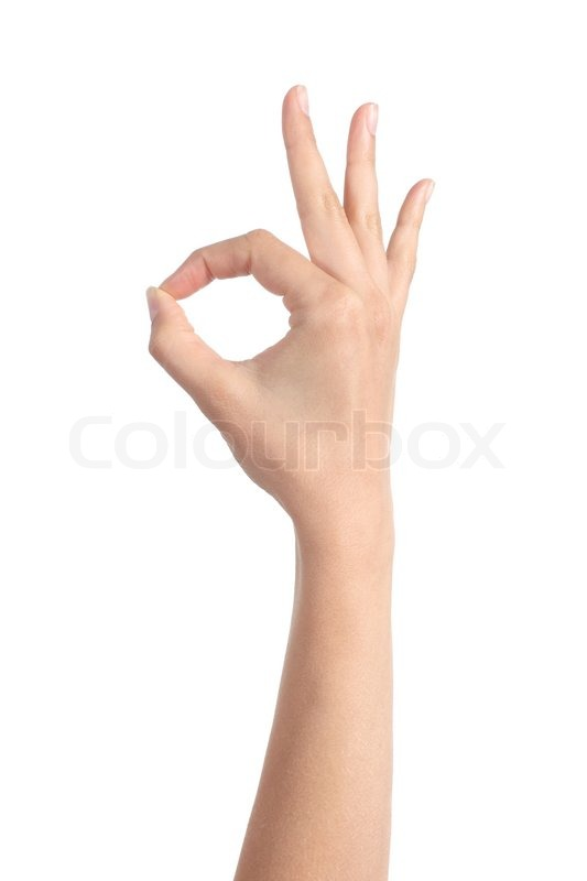 woman hand making ok gesture isolated on a white background stock