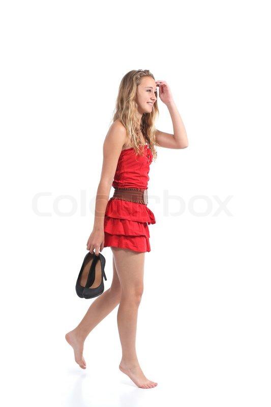 Elegant Preteen Girl In Dress And Heels Stock Photo