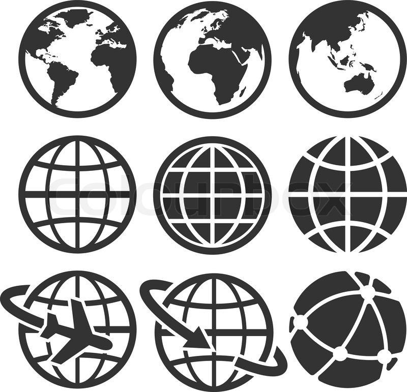 Earth Vector Icons Set Credit Nasa Stock Vector