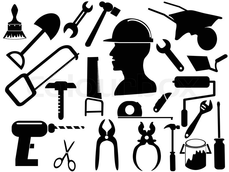 Box Wrench Clip Art Isolated black hand to...