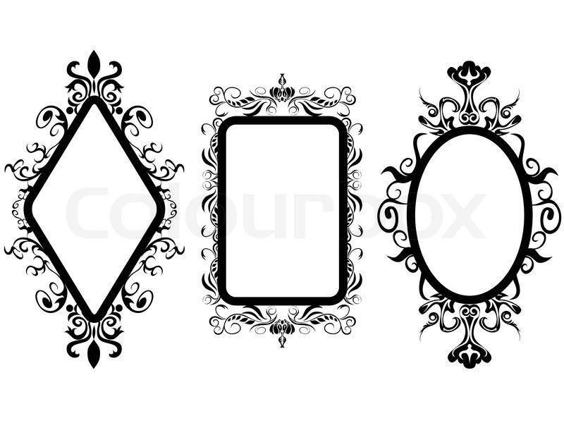 isoliert 3 verschiedene shpes von vintage rahmen spiegel