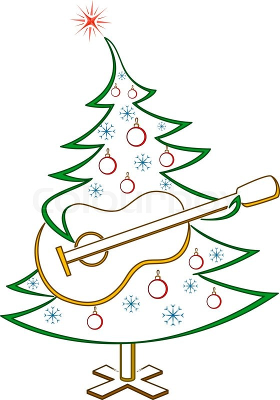 Christmas tree with guitar, pictogram | Stock Vector | Colourbox