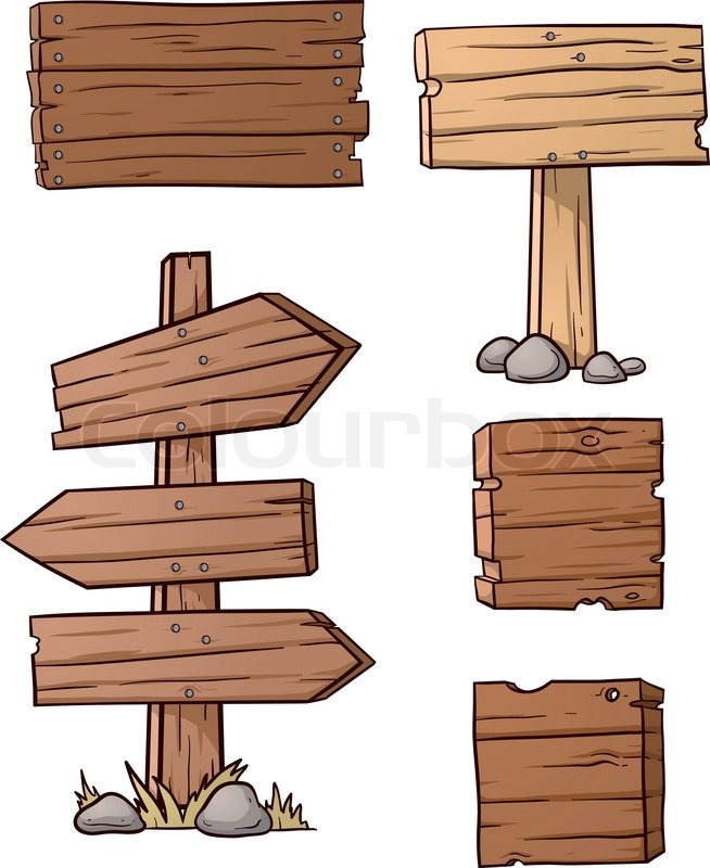 Cartoon wooden signs vector illustration with simple