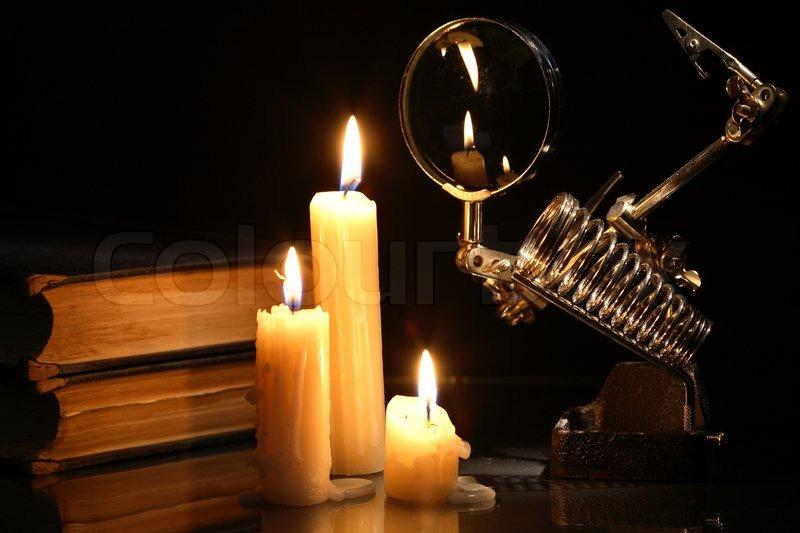 Science Light And Dark Lighting Candles on Dark