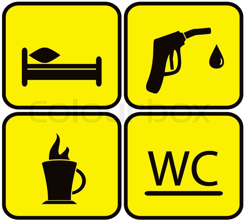 Symbol Set Gas Station Bed Wc And Coffee Cup Stock Vector