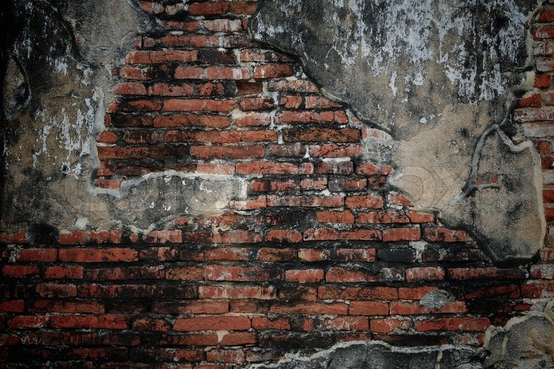Grunge Brick Wall With Cracked Cement Texture Stock