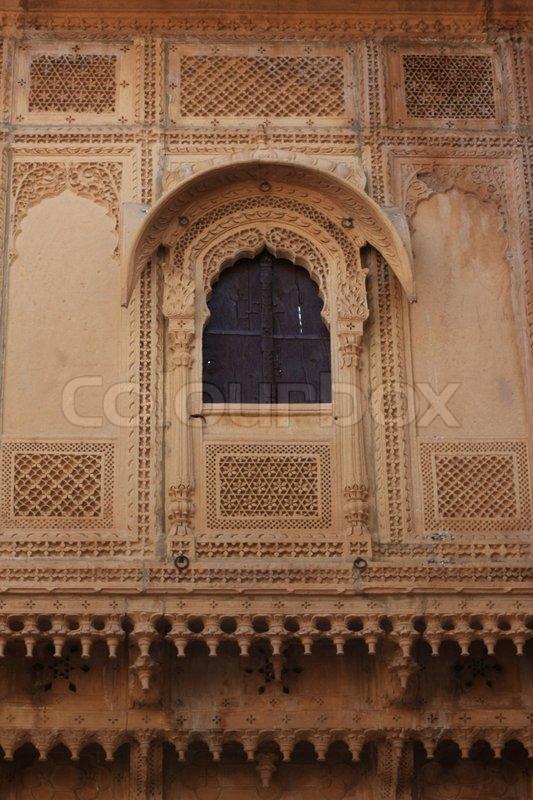 Stone Carving At Jaisalmer Fort Rajasthan India Stock