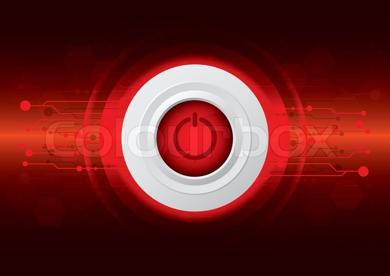 Power button on dark red technology background | Stock ...
