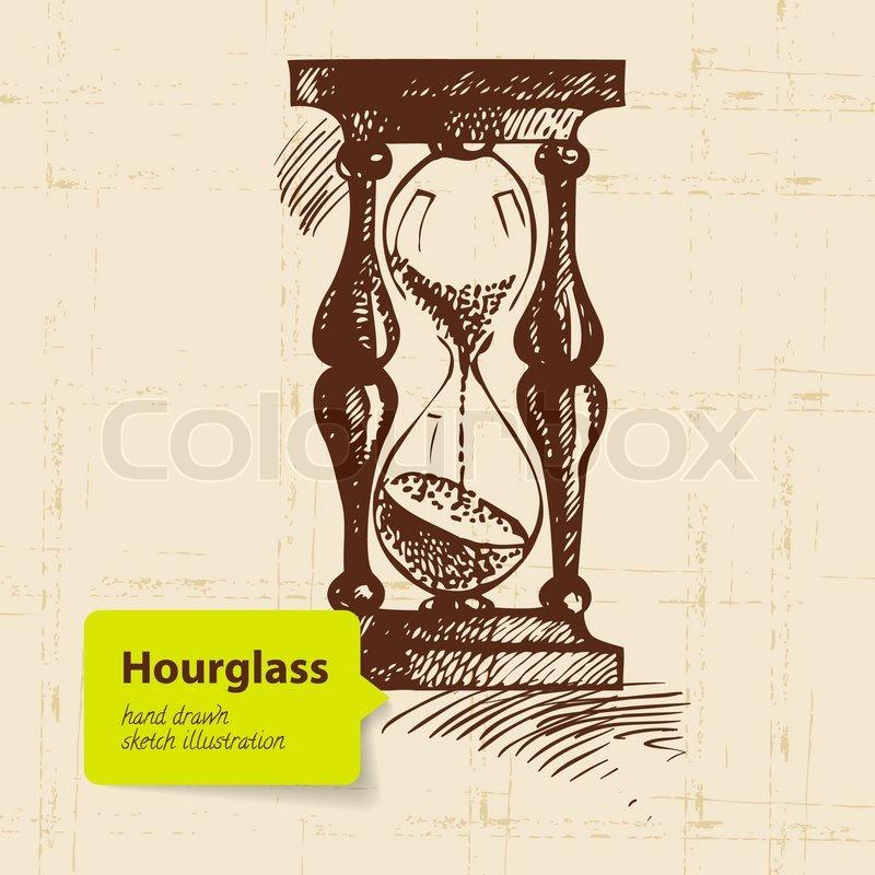Sanduhr gezeichnet  Vintage Uhr Sanduhr Hand gezeichnete Illustration | Vektorgrafik ...