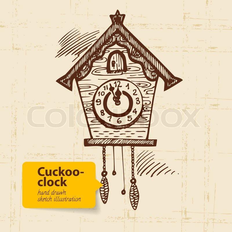 Standuhr gezeichnet  Hand gezeichnet Set von Uhren | Vektorgrafik | Colourbox