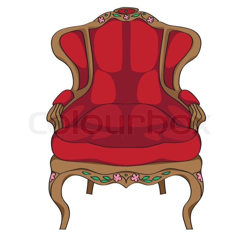 Rococo Armchair Doodle, Hand Drawn Illustration Of An Antique Furniture  Piece With Red Upholstery And Floral Decoration Isolated On White | Stock  Vector | ...