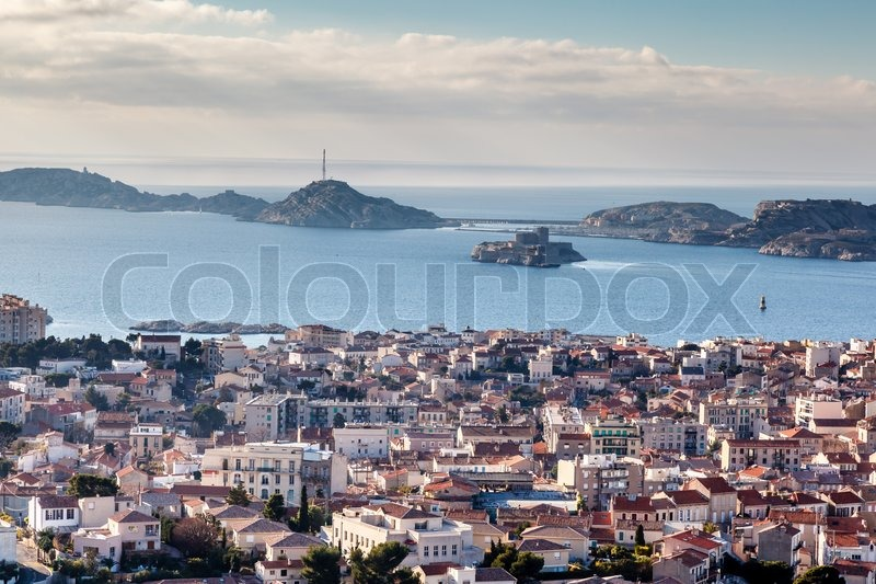 aerial view of marseille city and islands in background. Black Bedroom Furniture Sets. Home Design Ideas