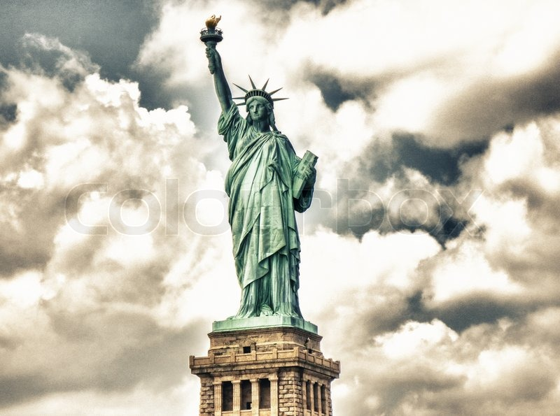the symbol of the liberty in the new york city Photo about the statue of liberty and manhattan, landmarks of new york city, usa image of icon, america, patriotic - 91527510.