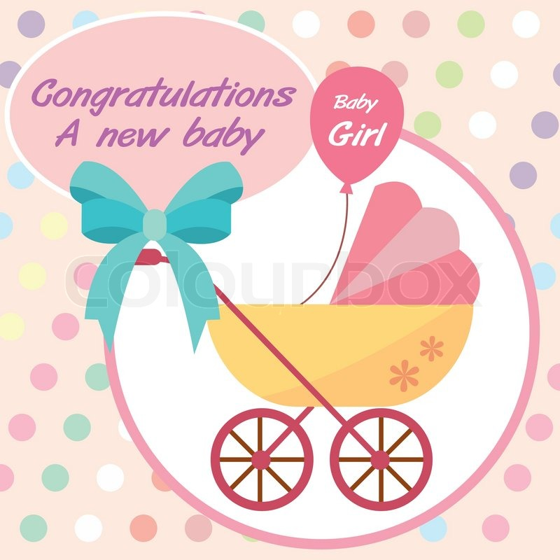 vector card new born baby girl stock vector colourbox - New Born Baby Card
