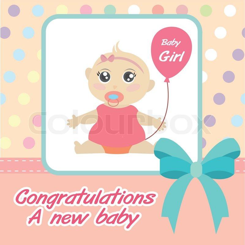 Baby Gift Vector : Vector card new born baby girl stock colourbox