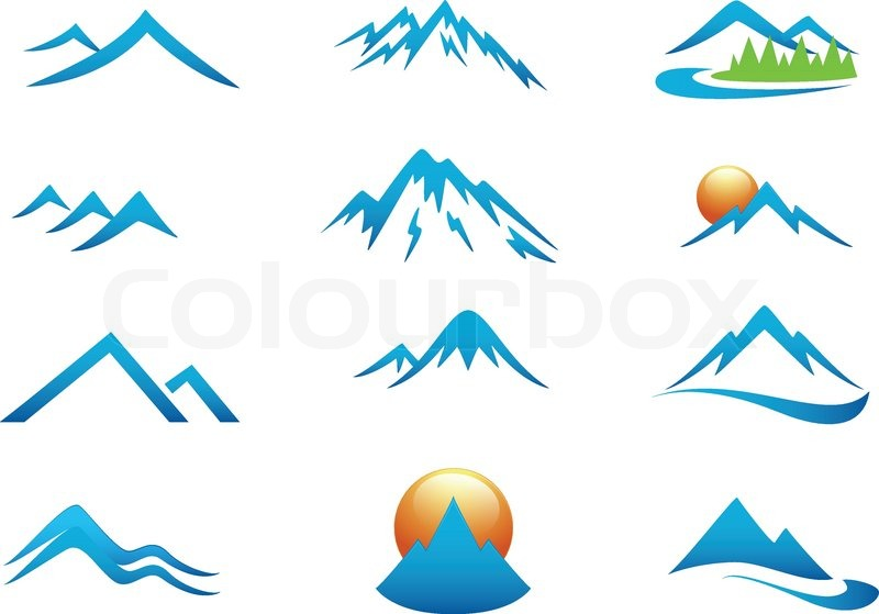 Vector Illustration Of Mountain Icon Collection Set