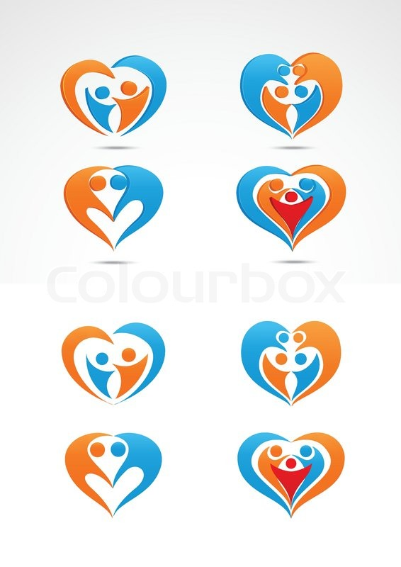 Vector illustration of Family love icon collection set ...