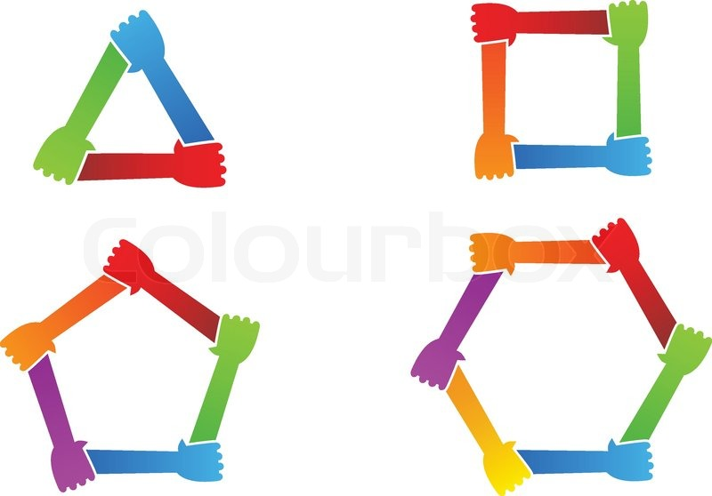 united hands conceptual symbol stock vector colourbox rh colourbox com Hand Silhouette Vector Open Hands Vector