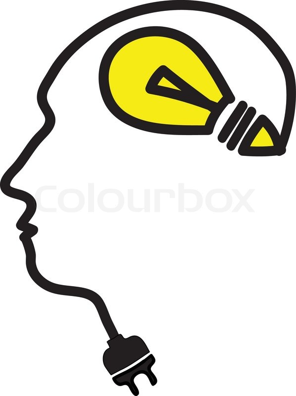 Kopf mit Glühbirne Symbol und Stecker | Vektorgrafik | Colourbox