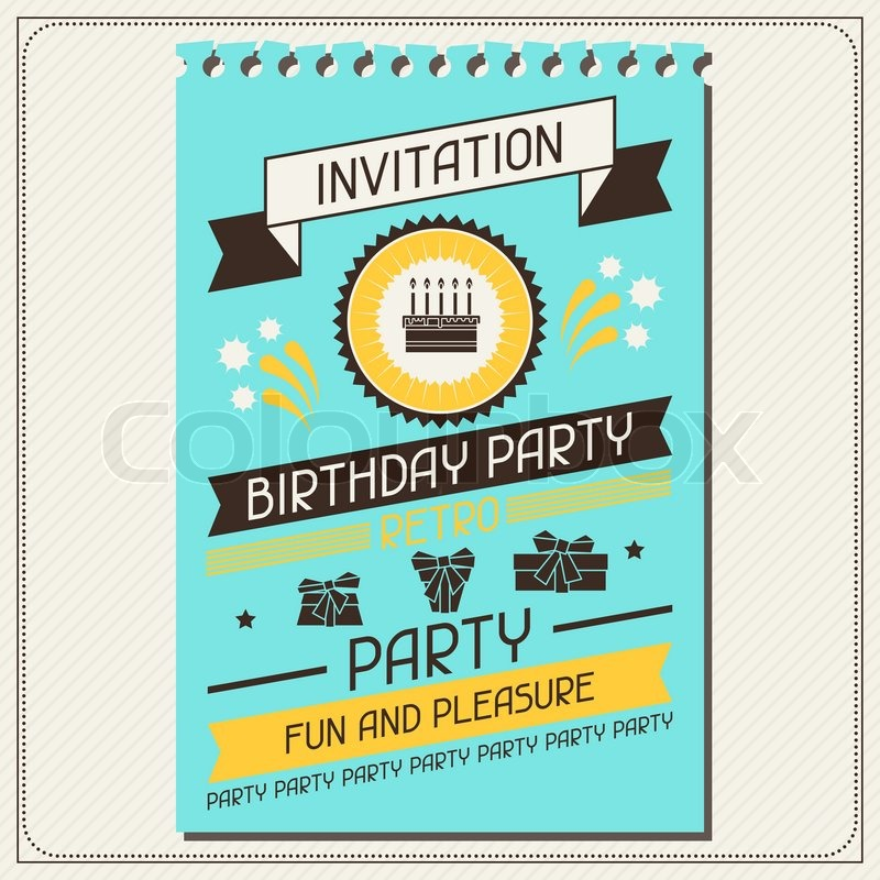 Invitation card for birthday in retro style Stock Vector Colourbox