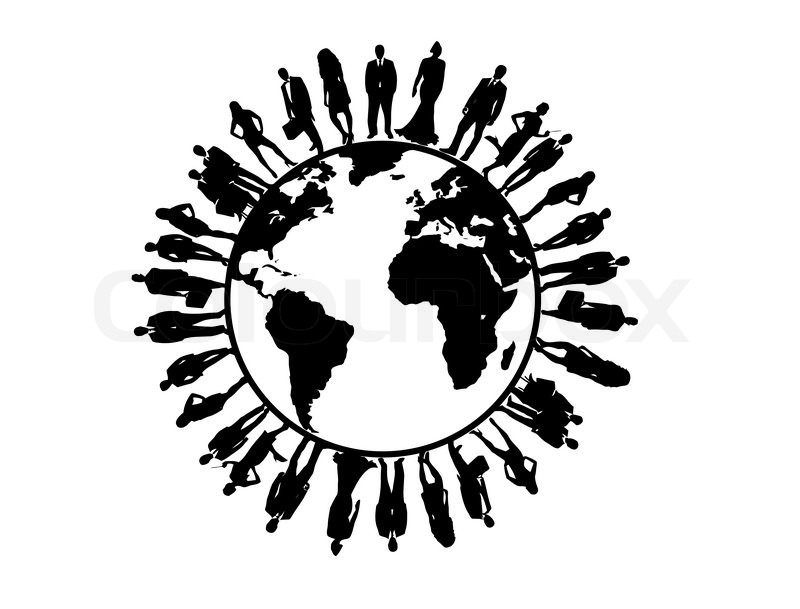 Symbol Of Business People Silhouettes Around The Globe Vector