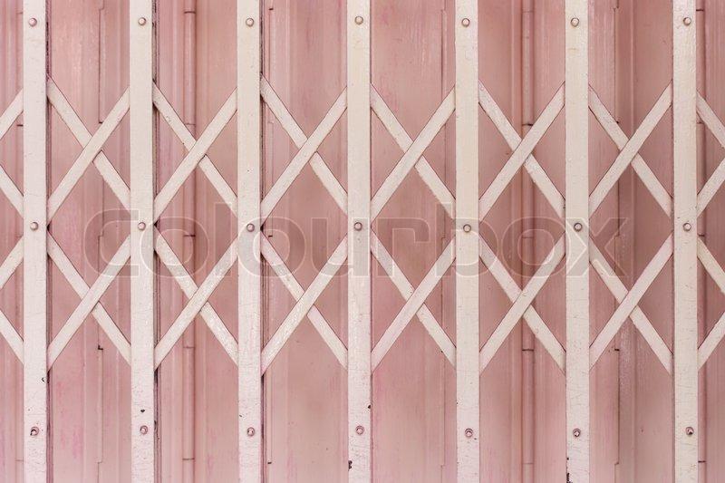 Pink metallic door, stock photo