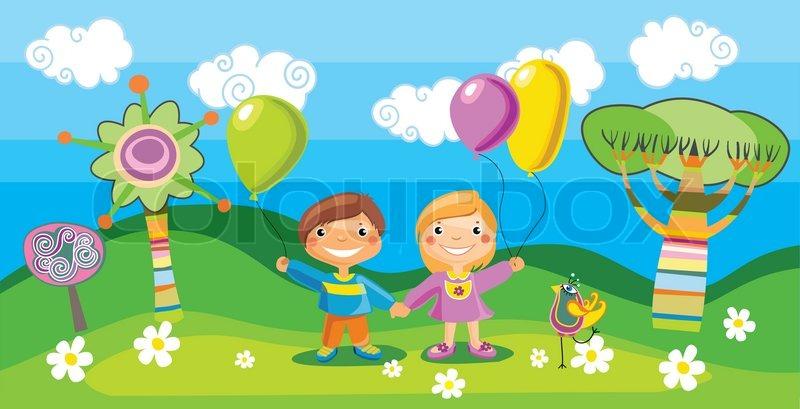 Junge und ein Mädchen mit einem Ballon Stock-Vektor Colourbox