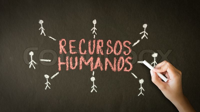 A person drawing and pointing at a Human resource chalk drawing, stock photo
