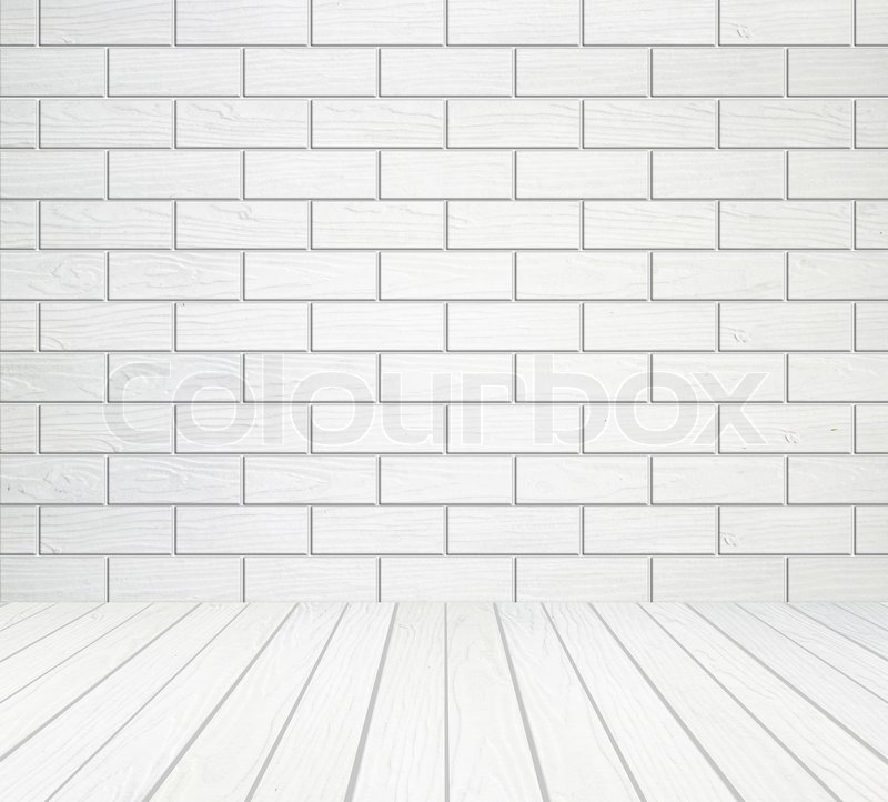 stock image of white wood wall block style and wood floor background