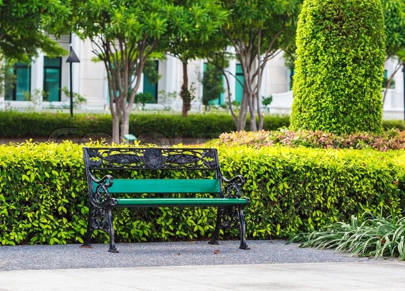 Green Bench In The Park With White Building Background