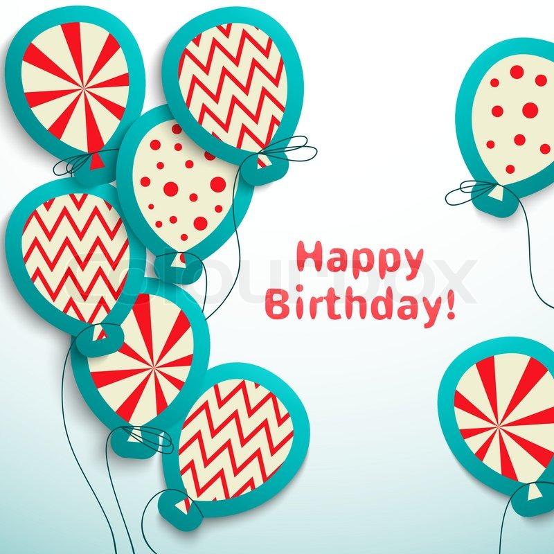 Alles Gute Zum Geburtstag Retro Postkarte Mit Ballonen