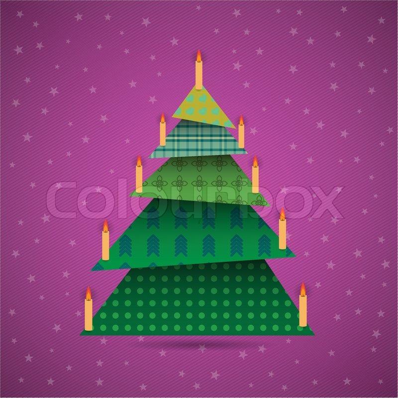 colorful origami weihnachtsbaum mit kerzen vektorgrafik. Black Bedroom Furniture Sets. Home Design Ideas